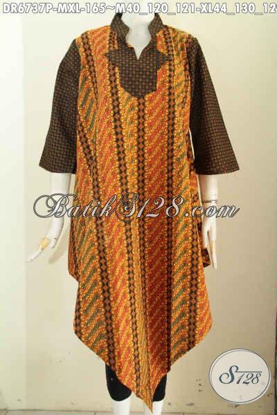 Baju Batik Motif Lawasan Sog, Dress Batik Model Taplak, Pakaian Batik Elegan Dan Trendy Cocok Untuk Pesta, Size M – XL