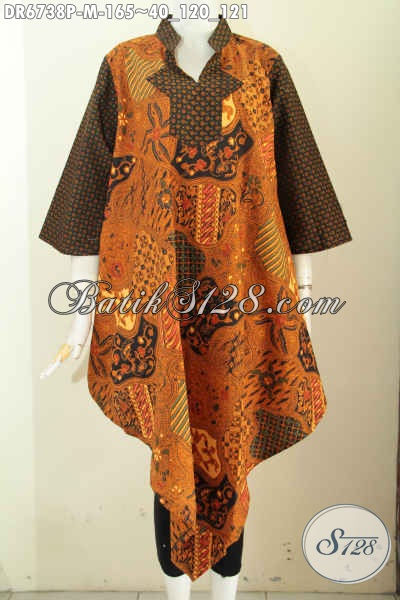 Sedia Baju Batik Atasan Untuk Wanita Cocok Buat Kerja Dan Santai, Dress Batik Model Taplak Motif Lawasan Sog Harga 165 Ribu [DR6738P-M]
