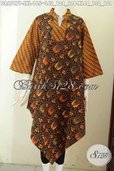 Baju Batik Wanita Buat Pesta, Dress Batik Keren Dengan Motif Klasik Sog Proses Printing Model A Simetris Bahan Adem Harga 165K [DR6747P-XL]