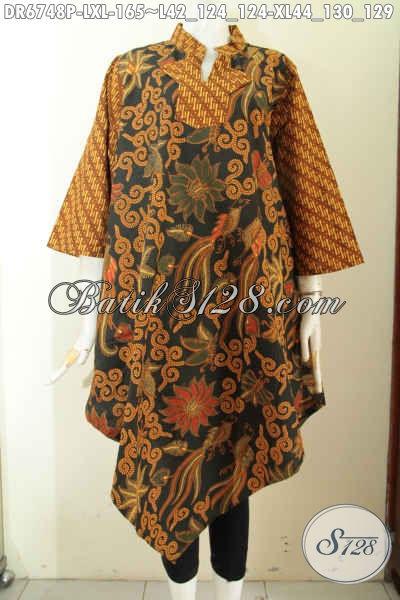 Pakaian Batik Klasik Istimewa Model A Simetris, Busana Batik Solo Nan Istimewa Bahan Halus Proses Printing Di Jual Online 165K [DR6748P-L]