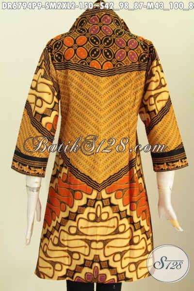 Baju Dress Batik Elegan Motif Sinaran, Busana Batik Klasik Kerja Wanita Terbaru Model Kerah V Proses Printing 150K [DR6794P-XL]
