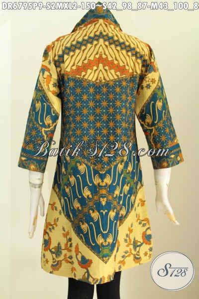 Baju Batik Seragam Kerja Wanita Karir, Dresss Batik Kerah V Motif Sinaran Printing Bahan Halus Harga 100 Ribuan [DR6795P-S]