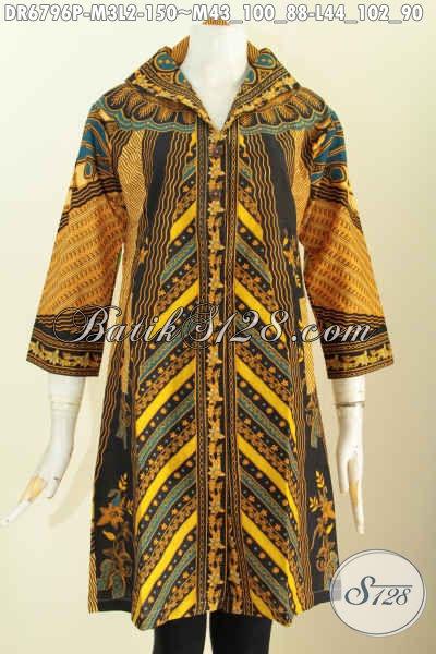 Jual Batik Dress Online Kwalitas Bagus Desain Kerah V Motif Klasik Sinaran Printing Hanya 100 Ribuan, Size M – L