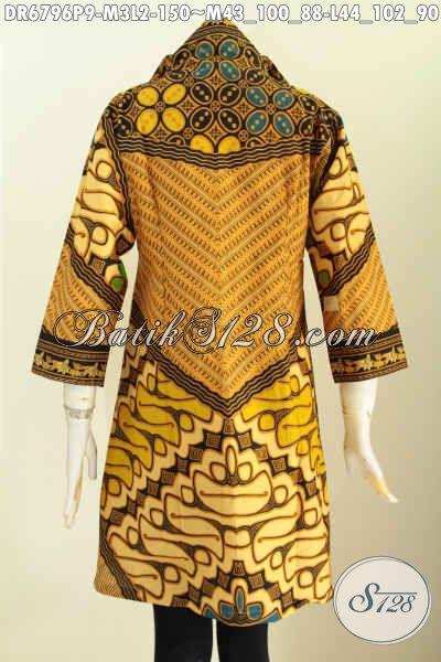 Baju Batik Wanita Atasan, Pakaian Batik Solo Model Dress Kerah V Motif Sinaran Proses Printing Warna Berkelas Tampil Terlihat Istimewa [DR6796P-M]