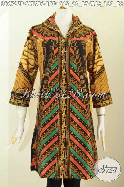 Baju Batik Wanita Kerja Kantoran, Busana Dress Batik Kerah V Motif Sinaran Klasik Proses Printing Asli Buatan Solo Indonesia [DR6797P-XL]