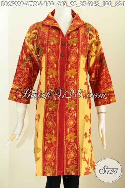 Aneka Baju Batik Dress Kerah V, Busana Batik Solo Istimewa Bahan Halus Motif Sinaran Harga 100 Ribuan, Pas Untuk Seragam Kerja Dan Pesta, Size S – M – L
