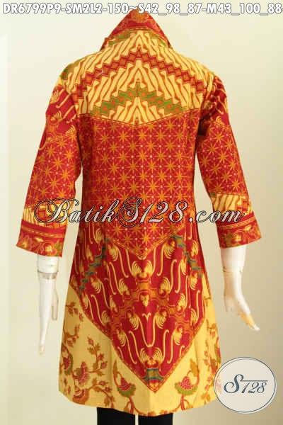 Baju Batik Wanita Buat Kerja, Dress Batik Berkelas Model Kerah V Motif Klasik Sinaran Proses Printing Di Jual Online 150 Ribu Saja [DR6799P-M]