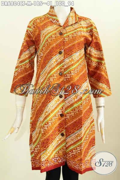 Sedia Baju Batik Wanita UntukKe Kantor, Pakaian Batik Terusan Bahan Adem Motif Elegan Proses Cap Tulis Desain Kerah Langsung [DR6804CT-M]