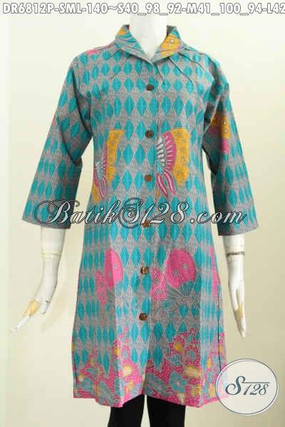 Pakaian Batik Modern Motif Unik, Dress Baju Batik Wanita Terbaru Proses Printing Di Jual Online 140K [DR6812P-S , M]