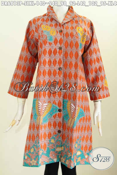Pusat Pakaian Batik Jawa Online, Sedia Baju Batik Wanita Modern, Dress Batik Kerah Langsung Asli Solo Cocok Untuk Kerja [DR6813P-L]