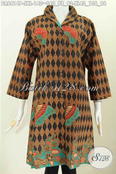 Aneka Busana Batik Wanita Karir Yang Bikin Penampilan Lebih Berkelas, Baju Batik Wanita Moderen Proses Printing Harga 140K Desain Kerah Langsung [DR6814P-S , XL]