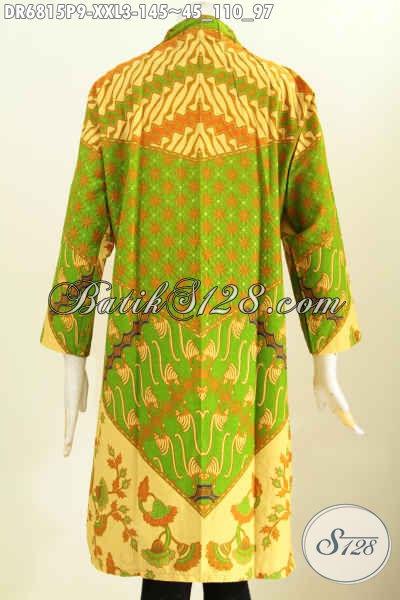 Baju Batik Wanita Modern 2017, Dress Batik Elegan Warna Cerah Kerah Langsung Proses Printing Tampil Terlihat Mewah [DR6815P-XXL]
