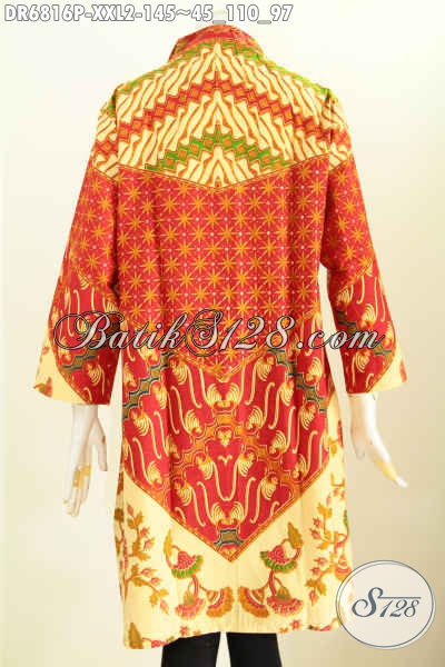 Baju Batik Istimewa Proses Printing, Baju Dress Batik Kerah Langsung Khusus Wanita Gemuk Motif Berkelas Proses Printing Tampil Makin Menawan [DR6816P-XXL]