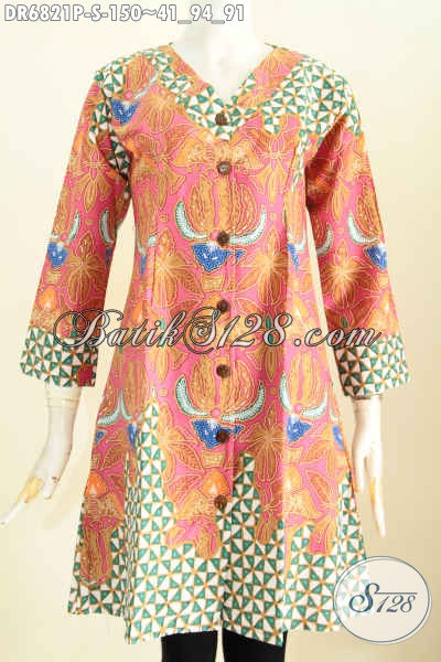 Dress Batik Kerah V Baju Batik Wanita Simple Model Terbaru Bahan
