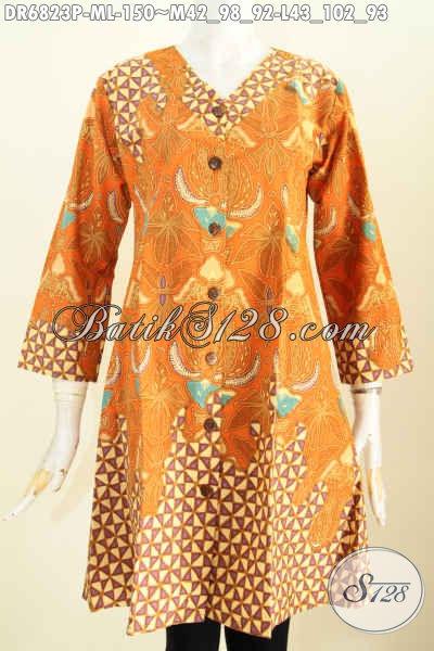 Baju Batik Wanita Trend 2017, Busana Dress Batik Kerah V Yang Bikin Wanita Terlihat Cantik Mempesona Harga 150K [DR6823P-M]