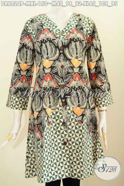 Toko Baju Batik Online Paling Up To Date, Sedia Baju Batik Wanita Trendy Model Dress Kerah V Untuk Tampil Bergaya [DR6824P- M , XL]
