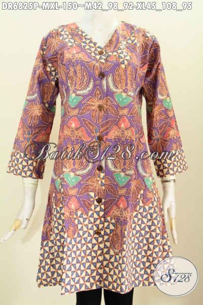 Baju Batik Wanita Unik, Dress Batik Kereh V Buatan Solo Motif Bagus Proses Printing Harga 150K [DR6825P-M]
