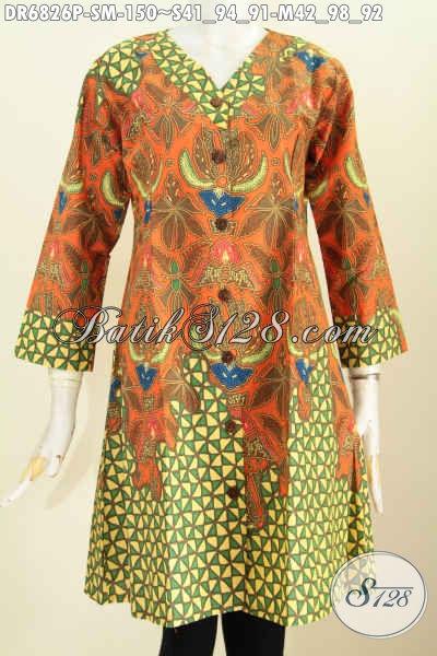 Baju Batik Wanita Untuk Guru Pegawai Bank Dan BUMN, Dress Batik Elegan Kerah V Motif Terkini Untuk Penampilan Makin Modis [DR6826P-S]