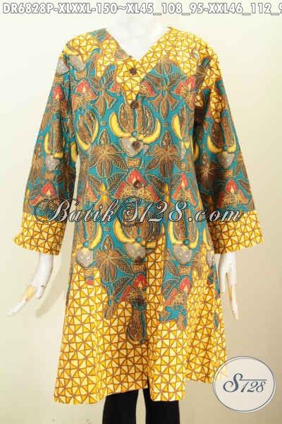 Baju Batik Wanita Untuk Kerja, Busana Dress Batik Solo Model Kerah V Bahan Adem Motif Bagus Proses Printing Tampil Makin Cantik Dan Modis [DR6828P-XL , XXL]