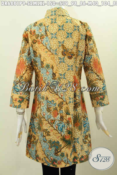 Baju Batik Kerah Miring, Baju Dress Kerja Wanita Motif Batik Proses Printing Kwalitas Bagus Bahan Adem Nyaman Di Pakai [DR6881P-S]