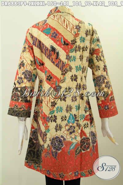 Dress BatikKerah Miring 2017, Contoh Baju Batik Wanita Kantoran Berbahan Halus Kwalitas Istimewa Di Jual Online 150K [DR6883P-L , XL]