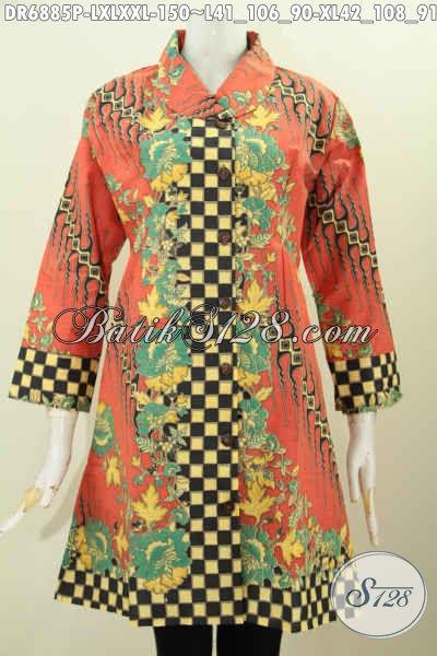 Contoh Baju Batik Wanita Modern 2017 Dress Batik Halus Kerah