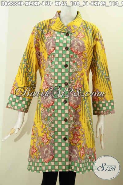 Busana Batik Berkelas Bahan Adem Motif Bagus Proses Printing, Contoh Model Baju Batik Dress Wanita Kerja Untuk Tampil Modis Dan Elegan [DR6889P-XXL]