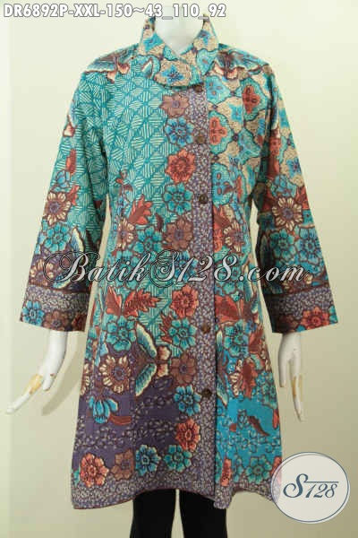 Contoh Model Baju Batik Wanita Untuk Kerja, Pakaian Batik Dress Kerah Miring Bahan Adem Buatan Solo Spesial Untuk Yang Berbadan Gemuk [DR6892P-XXL]