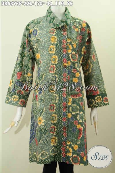 Dress Batik Elegan Untuk Wanita Gemuk Kerah Miring Desain