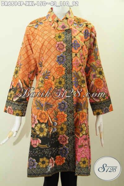 Desain Baju Batik Wanita Atasan Dress Batik Kerah Miring