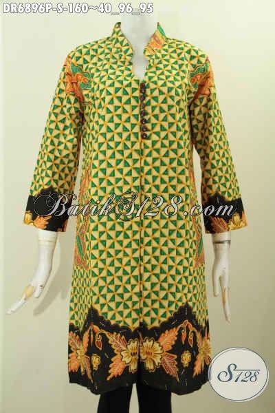 Batik Dress Halus Motif Elegan Pakai Kancing Banyak, Busana Batik Kerja Wanita Karir Model 2017, Size S