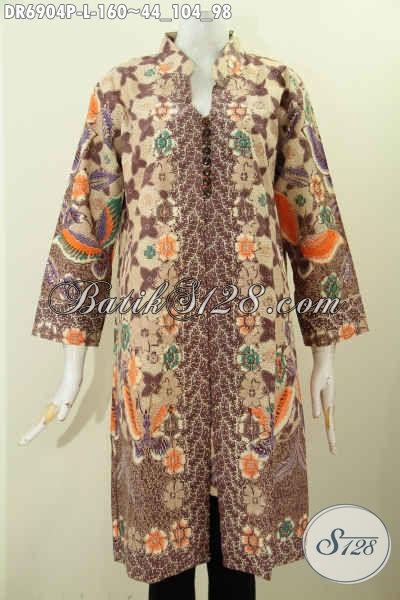Foto Baju Batik Wanita Modern, Desain Dress Batik Solo Terkini Bahan Halus Motif Printing Pakai Kancing Banyak Untuk Kerja Dan Kondangan [DR6904P-L]