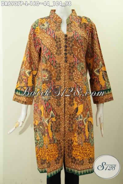Toko Online Pakaian Batik Solo Terlengkap, Sedia Dress Batik Modern Klasik Model Pake Kancing Banyak Motif Bagus Proses Printing Hanya 160 Ribu [DR6907P-L]