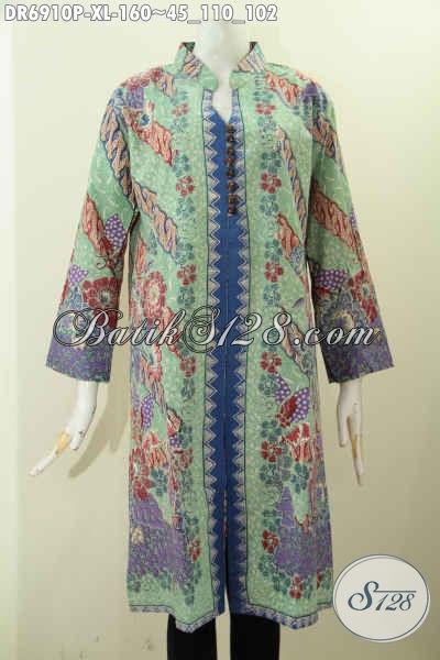 Foto Model Baju Batik Wanita Terbaru, Pakaian Batik Dress Bahan Adem Motif Proses Printing Dilengkapi Kancing Banyak Asli Buatan Solo Indonesia [DR6910P-XL]