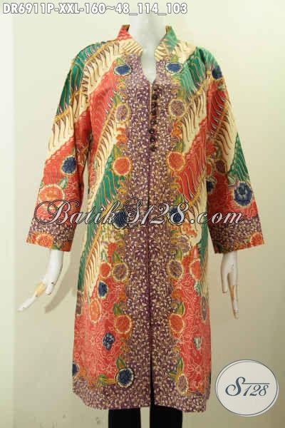 Galeri Baju Batik Wanita Kerja, Sedia Dress Batik Kancing Banyak Untuk Wanita Gemuk Bahan Halus Nyaman Di Pakai Ke Kantor [DR6911P-XXL]