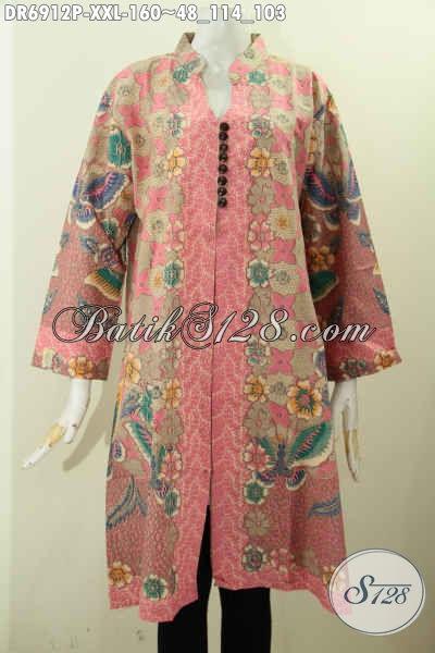 Gambar Baju Batik Atasan Untuk Wanita, Busana Dress Modern Dengan Sentuhan Klasik Nan Elegan Bahan Adem Motif Bagus Proses Printing Asli Dari Solo [DR6912P-XXL]