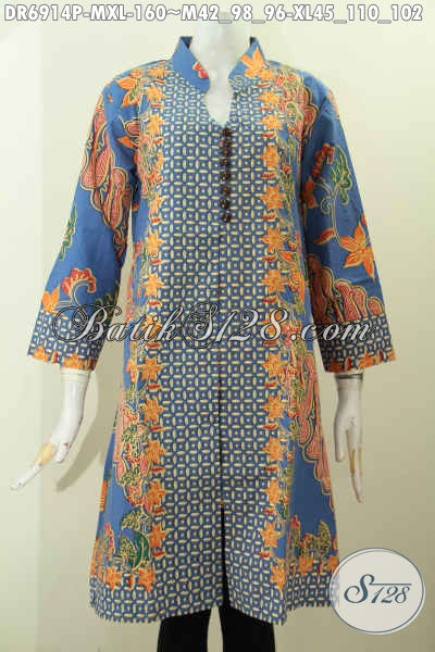 Baju Batik Dress Modern Motif Kombinasi Bahan Halus Proses Printing, Pakaian Batik Berkelas Wanita Terlihat Sempurna [DR6914P-M , XL]