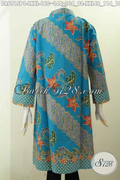 Pakaian Batik Istimewa Harga Biasa, Dress Batik Kancing Banyak Untuk Wanita Karir Tampil Gaya Dan Mempesona [DR6915P-L]