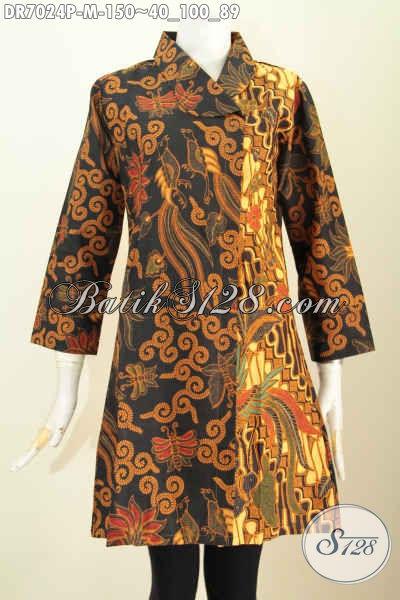 Dress Batik Unik Motif Belakang Sama Dengan Depan, Busana Batik Klasik Kerah Miring Proses Printing Size M