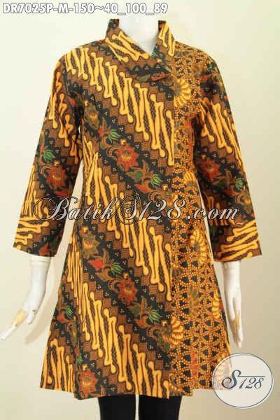 Busana Batik Kerja Wanita Muda, Baju Batik Wanita Trend 2017, Hadir Dengan Motif Klasik Dan Kerah Miring Proses Printing Harga Hanya 150K [DR7025P-M]