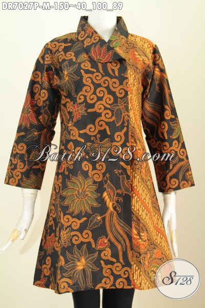 Baju Batik Wanita Terbaru Online, Dress Batik Klasik Kerah Miring Proses Printing, Pas Buat Kerja Dan Acara Resmi [DR7027P-M]