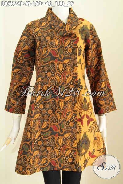 Baju Dress Modis Halus Elegan Klasik, Pakaian BatikKerah Miring Trend Mode Terkini, Penampilan Lebih Gaya, Size M