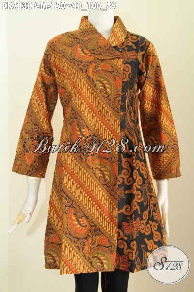 Pakaian Batik Wanita Nan Elegan Dan Berkelas, Dress Batik Klasik Desain Kerah Miring Yang Bikin Penampilan Makin Anggun Dan Mewah Hanya 150 Ribu Saja [DR7030P-M]