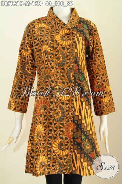 Dress Batik Solo Halus Keren Model Kerah Miring, Baju Batik Klasik Printing Dual Motif Tampil Lebih Istimewa, Size M