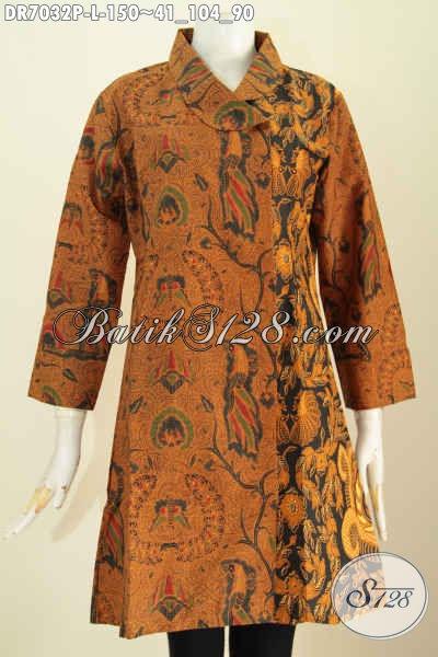 Pakaian Batik Kerja Size L, Dress Kerah Miring Kombinasi 2 Motif Klasik Proses Printing Untuk Penampilan Lebih Elegan Dan Mewah Hanya Dengan 150K [DR7032P-L]
