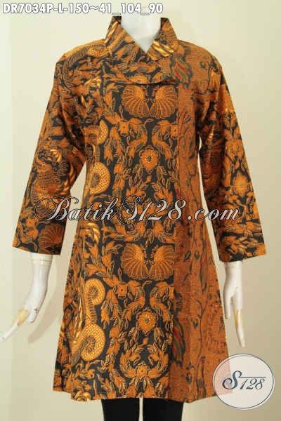 Dress Batik Solo Klasik Size L, Pakaian Batik Modis Proses Printing Motif Belakang Dan Kanan Sama, Harga 150 Ribu