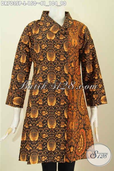 Batik Dress Desain Mewah Dual Motif Kwalitas Bagus Proses Printing Tampil Istimewa Dan Anggun, Size L