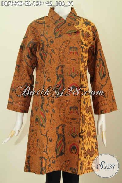 Baju Dress Batik Klasik Untuk Wanita Karir Dewasa, Busana Batik Elegan Kerah Miring Buatan Solo Proses Printing  Hanya 150 Ribu [DR7036P-XL]