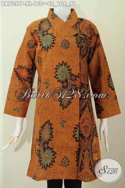 Batik Klasik Halus Istimewa, Baju Batik Printing Halus Buatan Solo Asli Desain Kerah Miring, Cocok Untuk Acara Resmi, Size XL