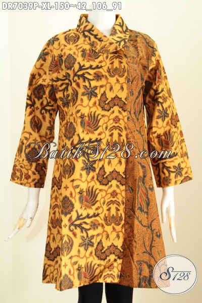 Produk Baju Batik Dress Klasik Printing Halus Model Kerah Miring Bahan Adem, Spesial Buat Wanita Dewasa, Size XL